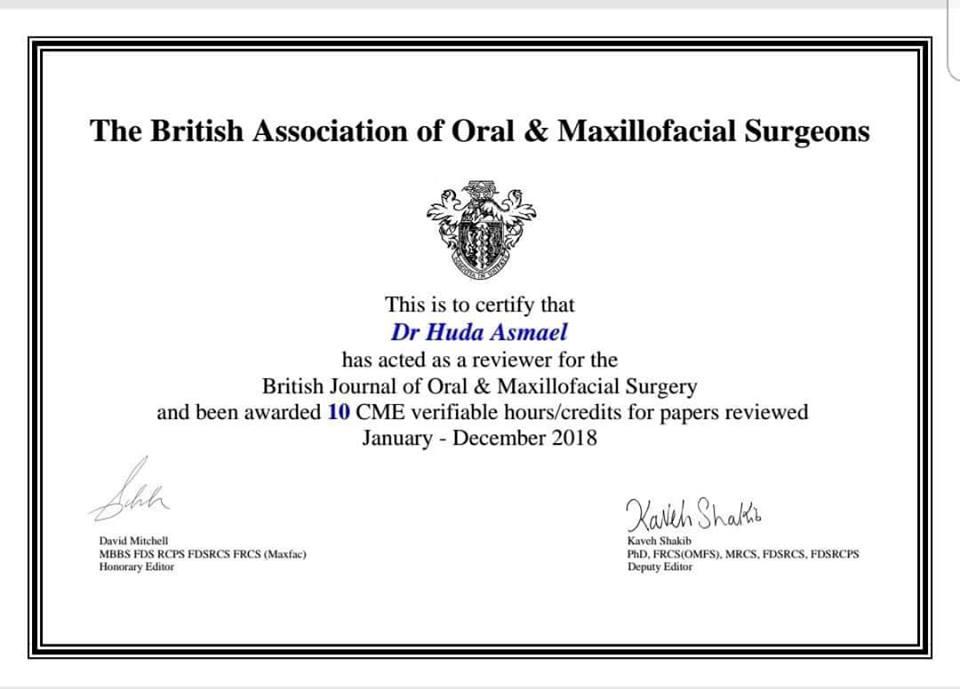 تدريسية من كلية طب الأسنان تحصل على شهادة من دار النشر Elsevier العالمية